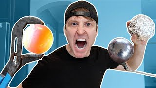 1000 DEGREE MIRROR POLISHED JAPANESE ALUMINUM FOIL BALL vs GIANT 1000 DEGREE METAL BALL CHALLENGE!!