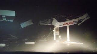 Gas Station Shredded in Hurricane Florence Eyewall