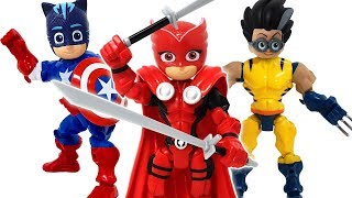 Avengers PJ Masks go! Defeat Romeo who transformed into Wolverine ❤️ RACHAMAN TOY