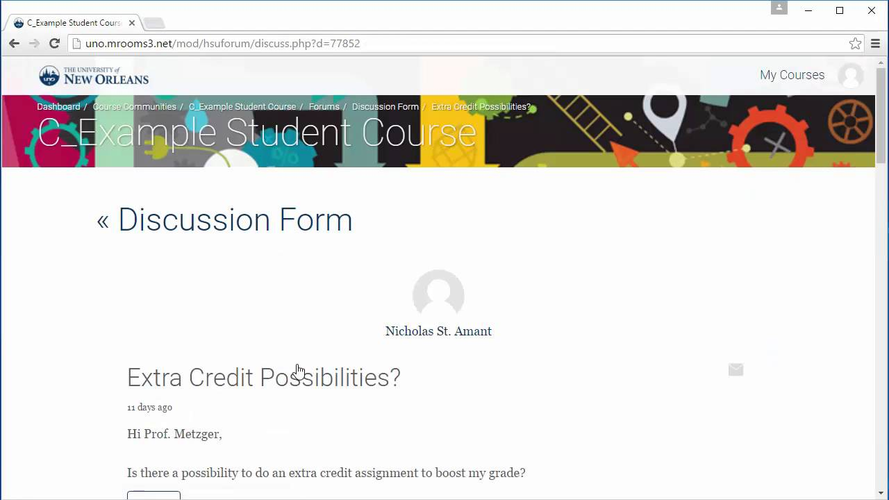 UNO Moodle Student Support - How to Start a Discussion and Reply in Forums