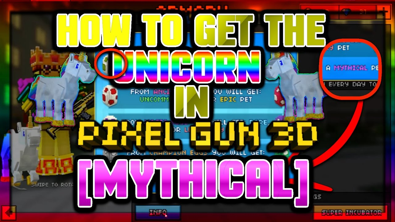 pixel gun 3d how to get the unicorn mythical pet youtube