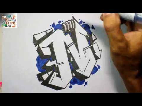 Very Easy How To Draw Graffiti Bubble Letters N For Kids Step By