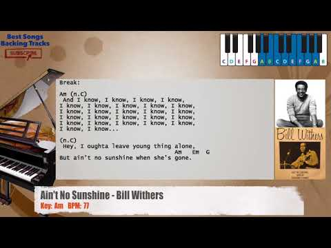 Ain't No Sunshine - Bill Withers Piano Backing Track with chords and lyrics