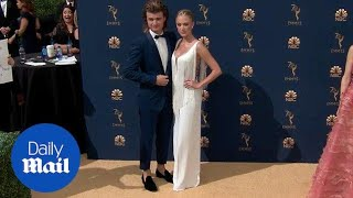 Joe Keery and Maika Monroe walk the 2018 Emmy Awards together