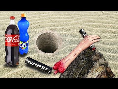 Coca Cola, Fanta, Mentos And Firecrackers Experiment