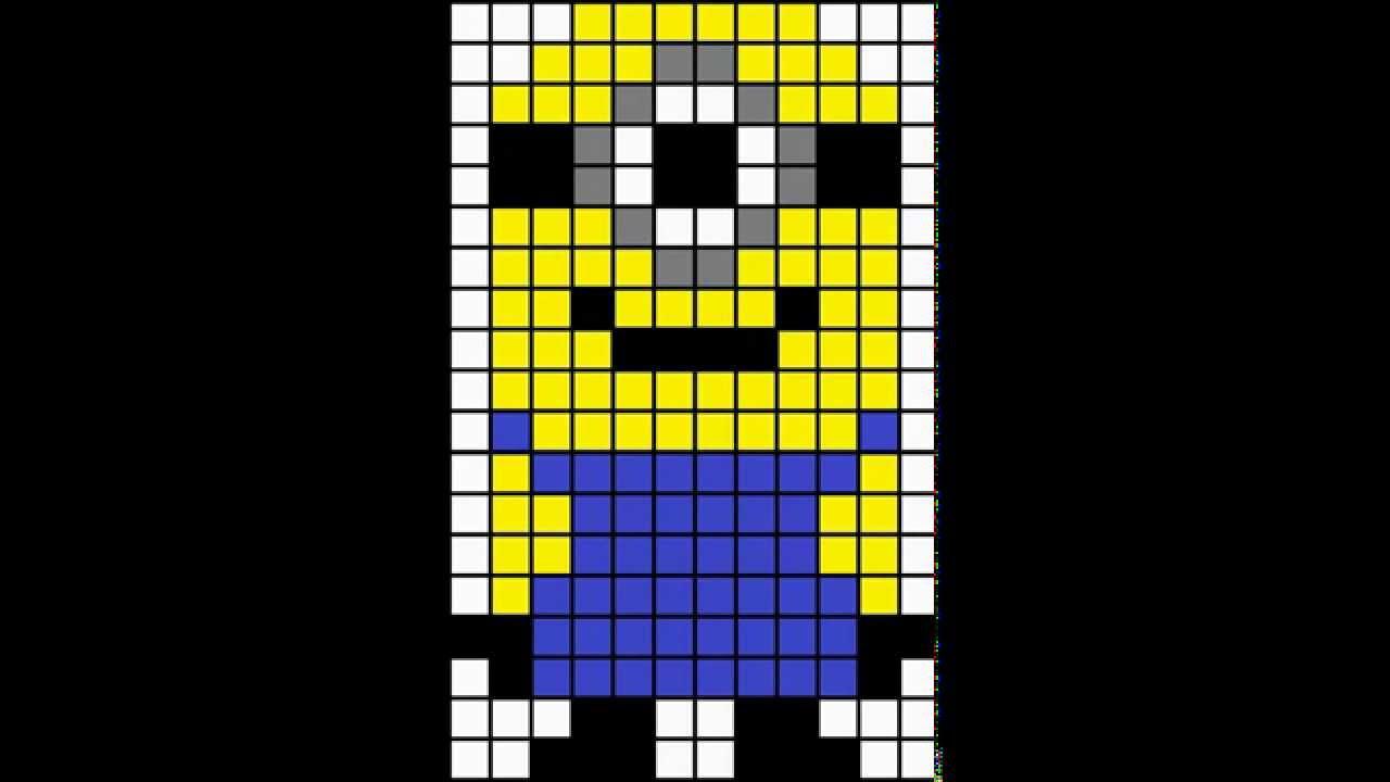 Minecraft Pixel Art Template Minion Youtube