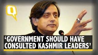 Bifurcation Of Jammu & Kashmir Abrogation Of Article 370 Shashi Tharoor Shares Congress& 39 Stance