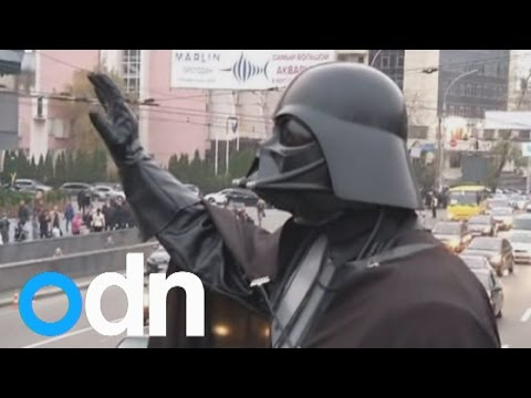 'Darth Vader' and two storm troopers campaign in Ukraine