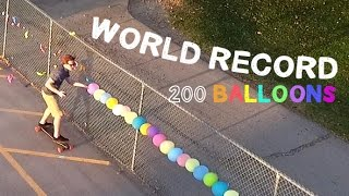 WORLD RECORD Fastest 200 Balloons Popped (with a nail)
