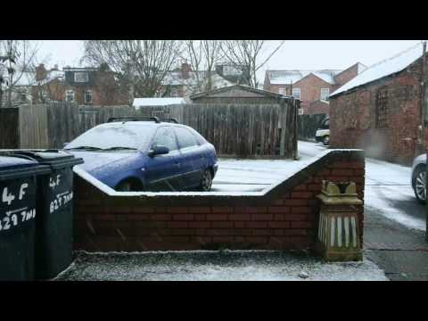 Snowing in Birmingham ENGLAND