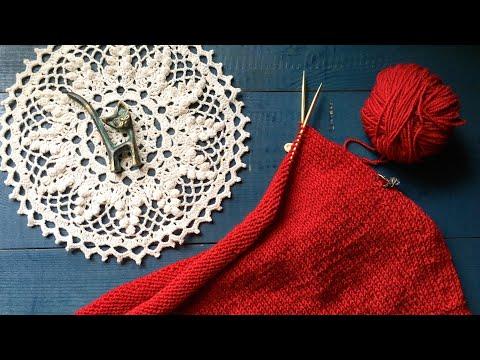 Вязаная красная юбка спицами