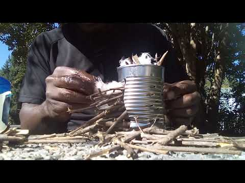 COMPLETE ROCKET STOVE MAKING A MEAL WITH PRIMITIVE AND MINIMAL MATERIALS.
