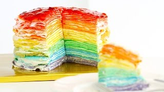 Rainbow Mille Crepe Cake DIY Rainbow Treats 무지개 크레이프 케이크