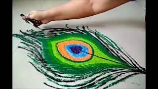 Easy peacock feather rangoli using tea spoon & fork   special for Diwali   Shading rangoli morpankh