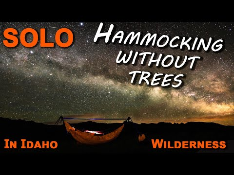 Solo Hammocking Without Trees In Idaho Wilderness Mountains - Chameleon Hammock, Milky Way With A7R3