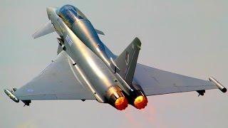 RAF Typhoon: Takeoff, Aerobatic Airshow Display & Landing @ BIAS - Afterburner + High Speed