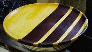Woodturning a Satinwood and Wenge Platter