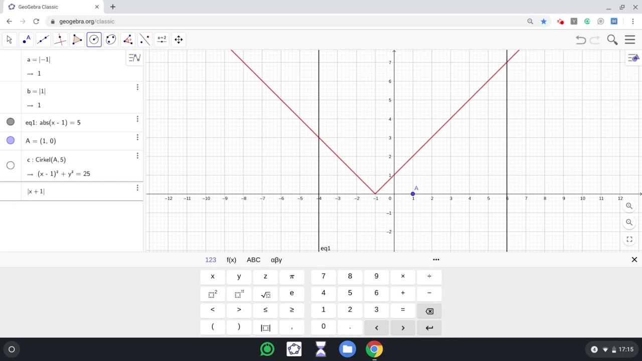 Geogebra - Grafanalys & CAS - Absolutbelopp i ekvationer med grafisk & algebraisk metod