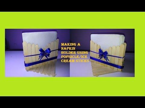 How To Make Napkin Holder Using Popsicle Sticks Craft