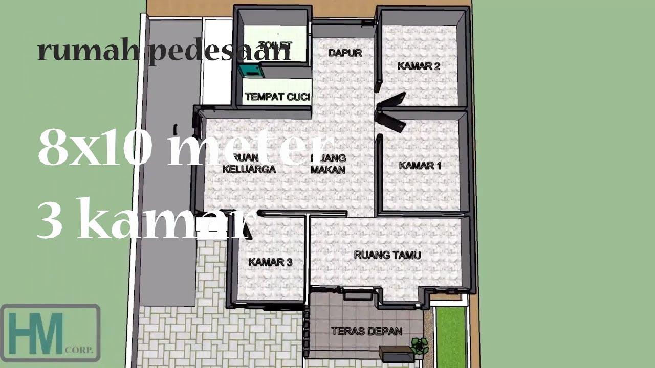 Desain Rumah Pedesaan 8x10 M Youtube
