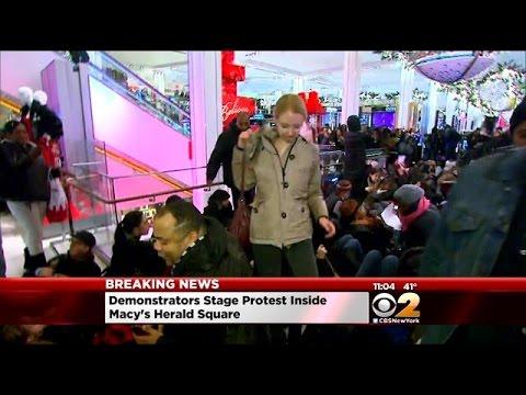 Demonstrators Pour Into Macy's Herald Square