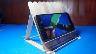 DIY - How to Make Mobile Holder Stand with Icecream Sticks, Stick Crefts