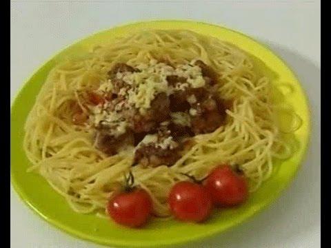 Спагетти с мясными тефтелями