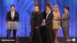 Matt Bomer presents award to Ryan Murphy and The New Normal at the #glaadawards