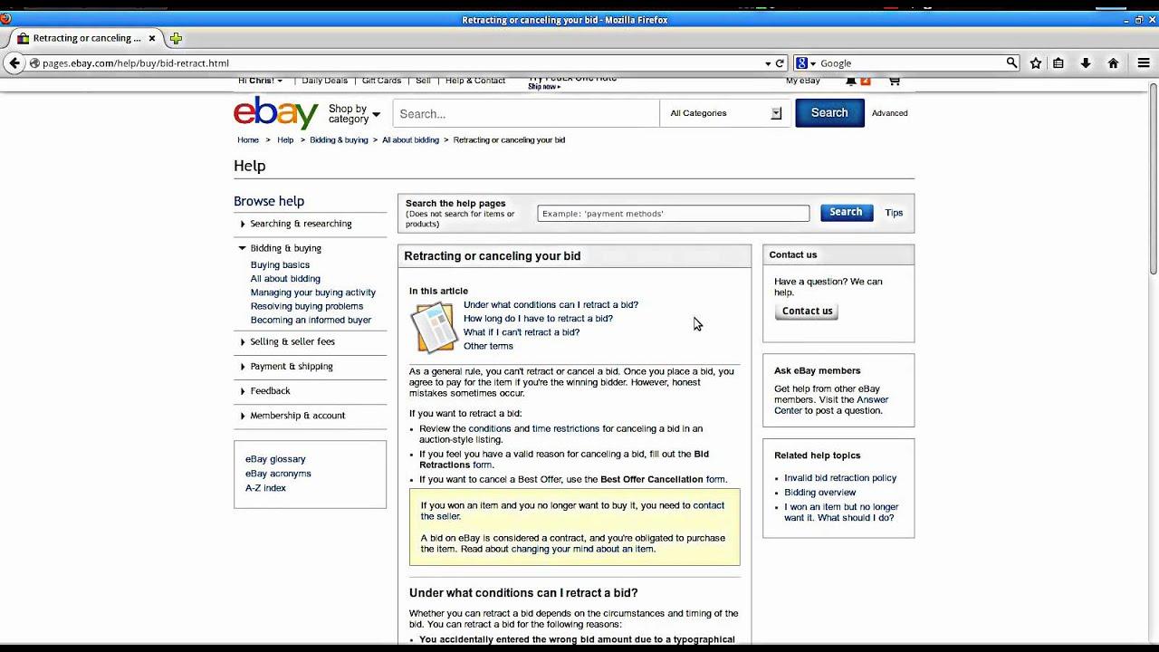 How To Retract A Bid On Ebay Youtube