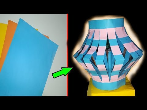 DIY colour paper lamp/lantern (Night Lamp) how to make a lamp light out of colour paper