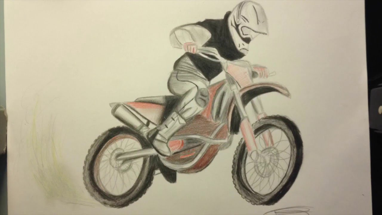 Dessin motocross freestyle timelapse youtube - Moto cross dessin ...