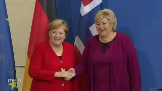 Pressestatement mit Angela Merkel und Erna Solberg (MP Norwegen) am 15.10.19