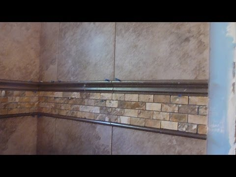 """Part """"3"""" HOW TO TILE 60"""" tub surround walls - Installing mosaic accent border and shelf"""