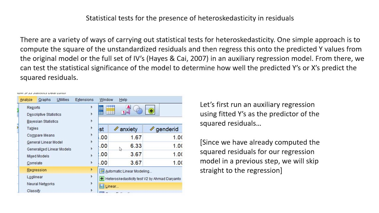 Regression analysis in SPSS: identifying and managing heteroskedasticity  (July 2019)