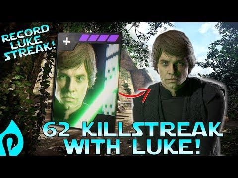 62 Killstreak With Luke Skywalker In Star Wars Battlefront 2!