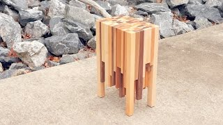 Scrap Wood End Grain End Table | How To Build - Woodworking