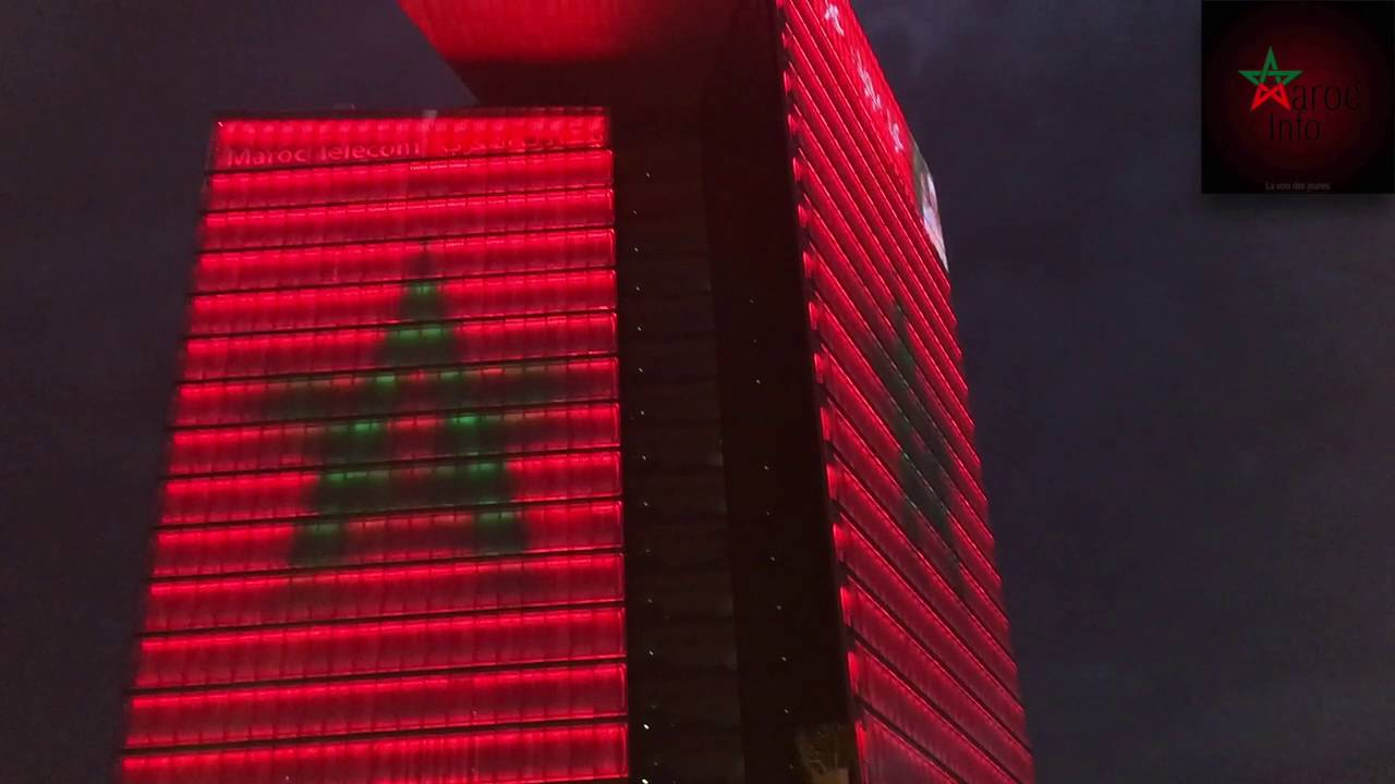 La tour maroc telecom aux couleurs du drapeau national - Drapeau du maroc a imprimer ...