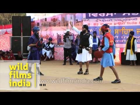 Sword fight at International Gatka Festval, Punjab
