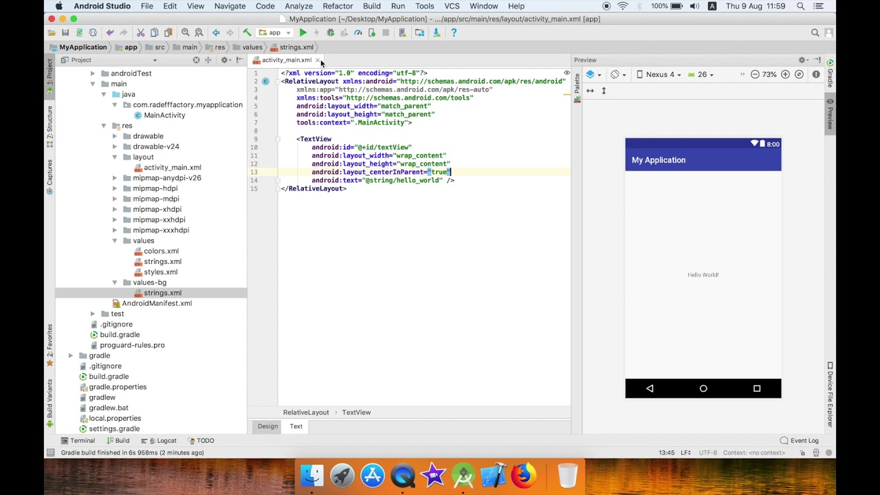 Change app language programmatically in Android Studio