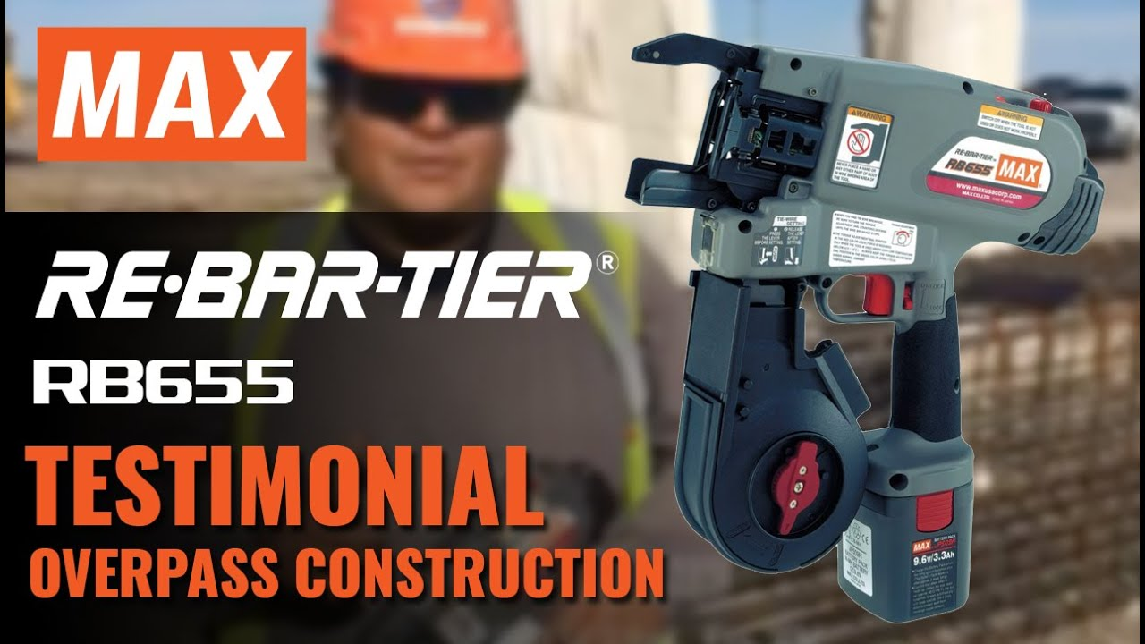 MAX REBAR TYING TOOL - HIGHWAY OVERPASS CONSTRUCTION RB655 - YouTube