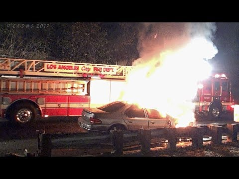 LAFD / Auto vs Guardrail On Fire / Elysian Park