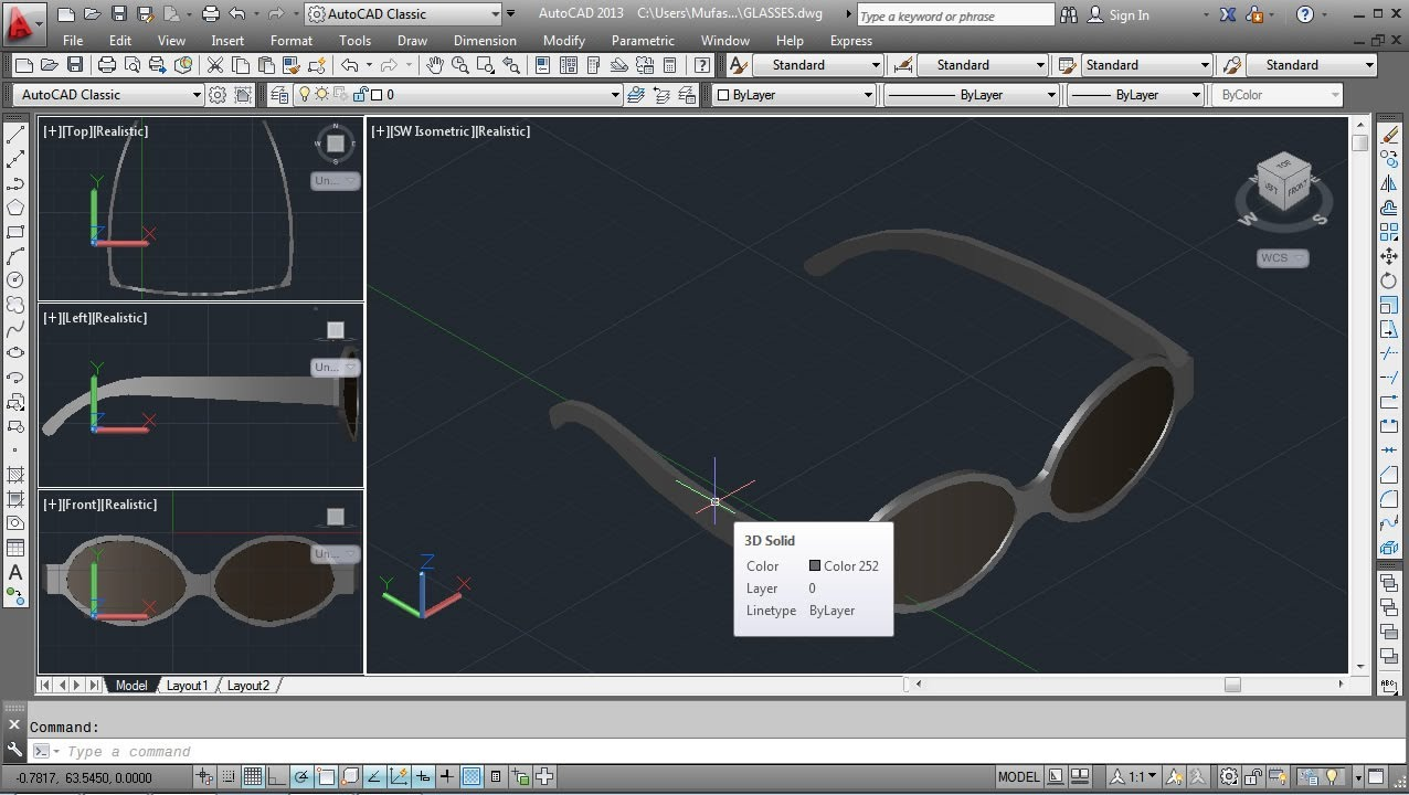 Autocad 3d glasses modeling tutorial freestyle youtube for Home design 3d mac tutorial