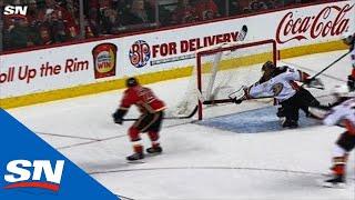 Ducks' Ryan Miller Denies Flames' Austin Czarnik With Paddle Save