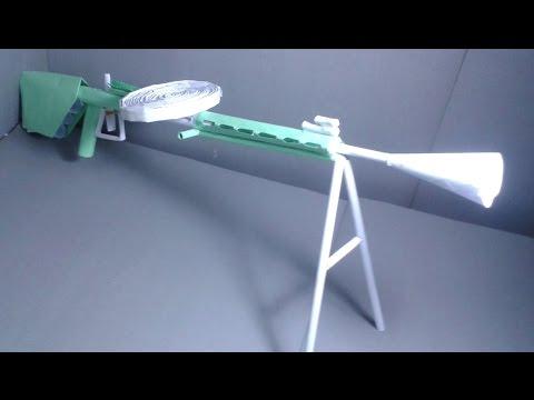  DIY  How to make a paper ww2 machine gun that shoots rubber bands