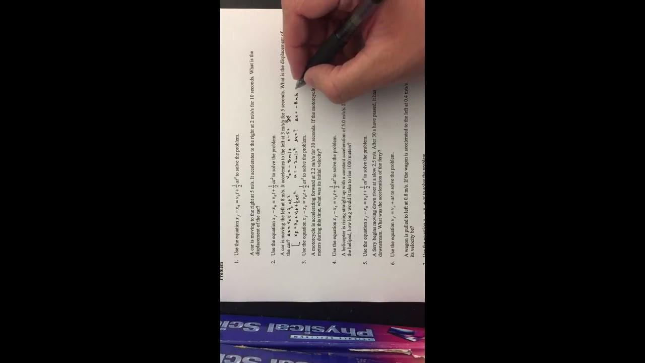 Kinematics worksheet practice problems - YouTube
