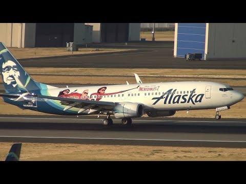 Alaska Airlines (Incredibles 2) 737-800 [N519AS] Landing Portland Airport (PDX)