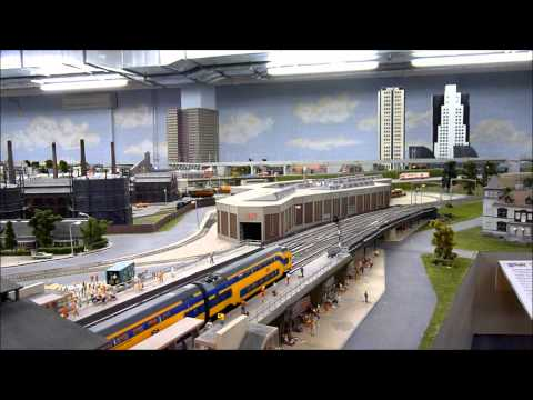 Biggest HO model railroad layout of Holland at Railz Rotterdam part  5. 23-2-2011