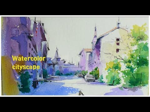 풍경 수채화 그리기 Watercolor Cityscape Painting demonstration 水彩画 Acuarela