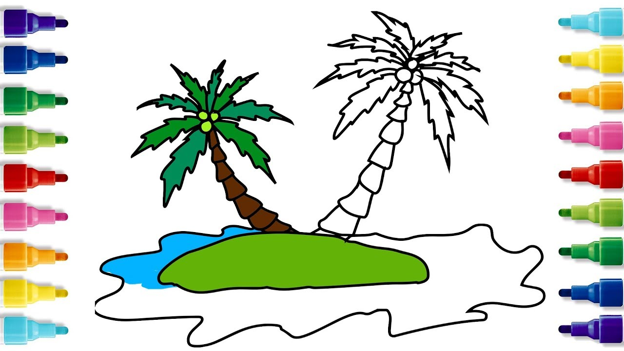 How to Draw an Island | Easy Drawing | Coloring Pages | YZArts - YouTube
