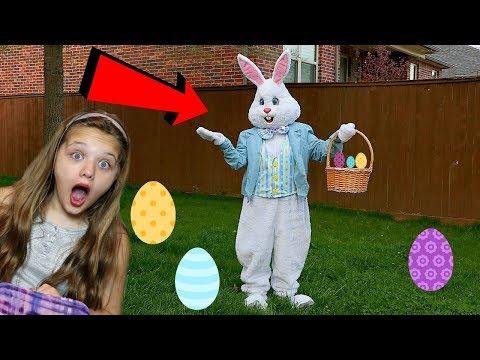 EASTER BUNNY CAUGHT ON TAPE! Easter Egg Surprise Toys Scavenger Hunt